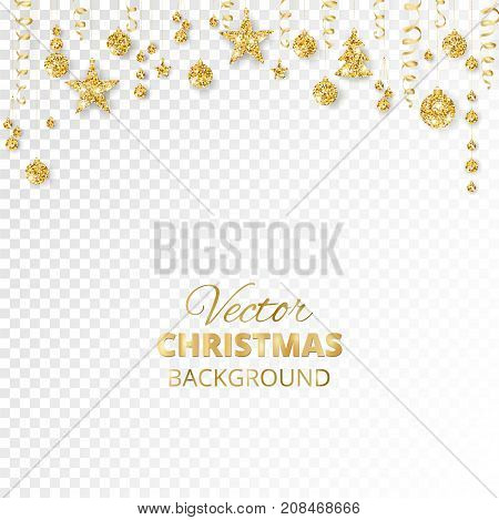 Sparkling Christmas glitter ornaments isolated on transparent background. Golden fiesta border. Festive garland with hanging balls and ribbons. Great for New year party posters, website headers.