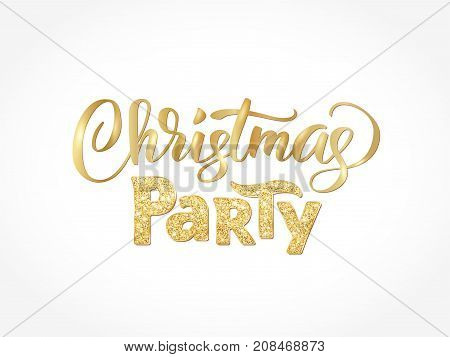 Christmas party hand written lettering isolated on white background. Sparkling glitter golden typography, modern calligraphy. Vector illustration. Great for party posters and banners.