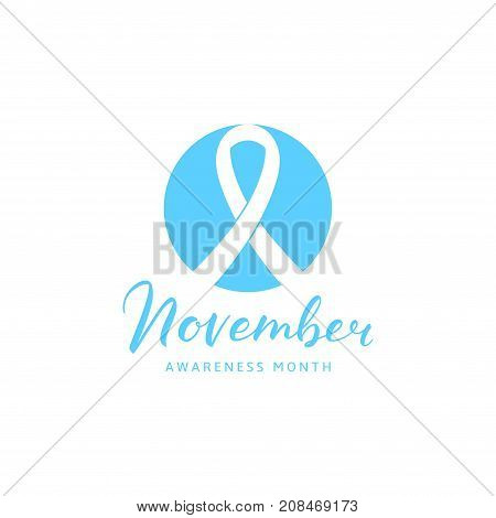Prostate Cancer Awareness Month Symbol. Light Blue Logo with Ribbon in Circle and Calligraphic Text. Vector Illustration with Lettering.