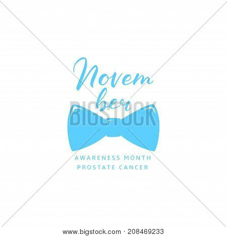 Prostate Cancer Awareness Month Label. Light Blue Logo with Bow Tie and Calligraphic Text. Vector Illustration with Lettering.