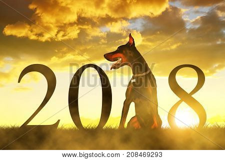 Chinese New Year 2018 concept. Dog sitting on meadow at sunset.