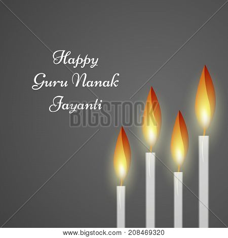 illustration of candles with happy Guru Nanak Jayanti text on the occasion of Sikh Festival Guru Nanak Jayanti. Guru Nanak Jayanti, celebrates the birth of the first Sikh Guru, Guru Nanak.