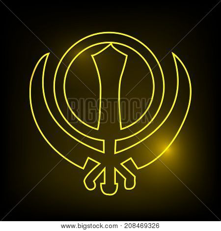 illustration of Sikhism symbol on the occasion of Sikh Festival Guru Nanak Jayanti. Guru Nanak Jayanti, celebrates the birth of the first Sikh Guru, Guru Nanak.