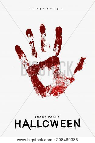 Happy Halloween. Hand in the red blood. Bloody handprint on white background