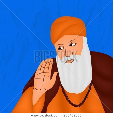 illustration of Sikh god Guru Nanak on the occasion of Sikh Festival Guru Nanak Jayanti. Guru Nanak Jayanti, celebrates the birth of the first Sikh Guru, Guru Nanak.