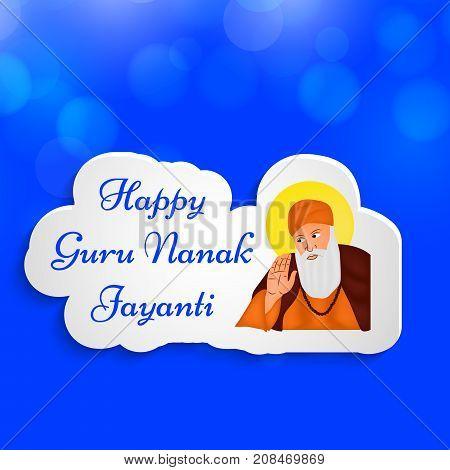 illustration of Sikh god Guru Nanak with happy Guru Nanak Jayanti text on the occasion of Sikh Festival Guru Nanak Jayanti. Guru Nanak Jayanti, celebrates the birth of the first Sikh Guru, Guru Nanak.