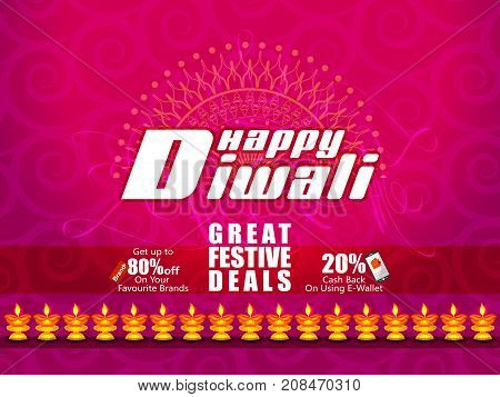 Decorated Diya on Happy Diwali night celebrating holiday of India with festive deal background. Vector illustration