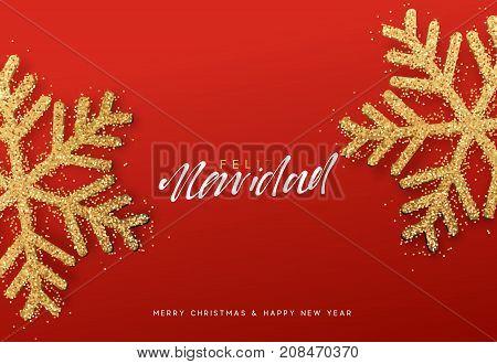 Spanish lettering Feliz Navidad. Christmas background with realistic bright snowflakes