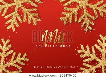 Spanish Xmas letterings, Mis felicitaciones y Feliz Navidad. Christmas background with realistic bright snowflakes