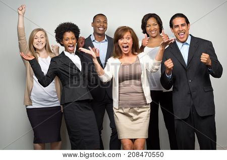 Diverse group of business people isolated on gray.
