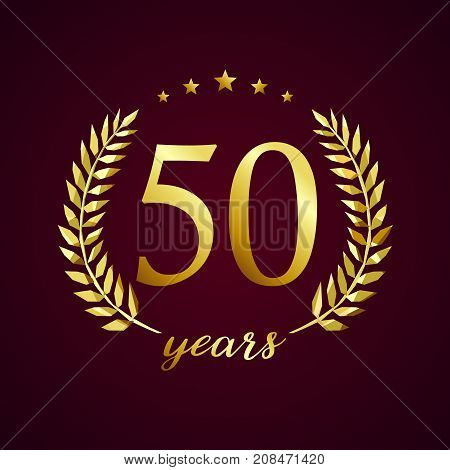 50 years old luxurious logotype. Congratulating 50th, 5th numbers in circle of palms, cup template. Isolated sign greetings symbol, celebrating traditional stained-glass decorative retro style ear.