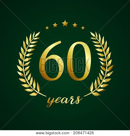 60 years old luxurious logotype. Congratulating 60th, 6th numbers in circle of palms, cup template. Isolated sign greetings symbol, celebrating traditional stained-glass decorative retro style ear.