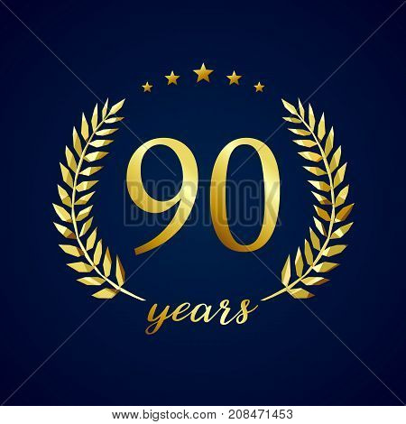 90 years old luxurious logotype. Congratulating 90th, 9th numbers in circle of palms, cup template. Isolated sign greetings symbol, celebrating traditional stained-glass decorative retro style ear.