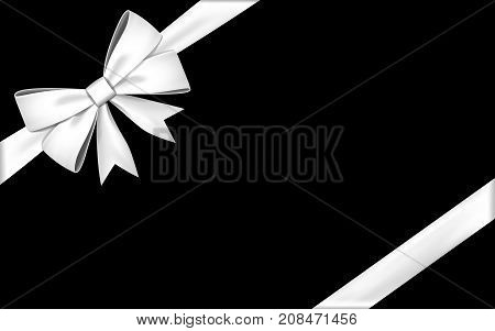 Gift bow ribbon silk. Red bow tie isolated on white background. 3D gift bow tie for Christmas present holiday decoration birthday celebration. Decorative satin ribbon element. Vector illustration