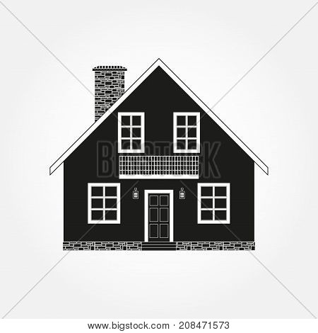 House exterior silhouette. Vector illustration of home icon.