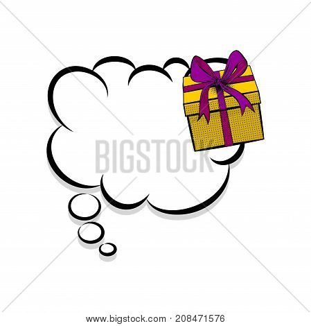 Creative idea conversation sketch. Gift box birthday picture blank template pop art style comic text speech bubble halftone dot background. Comics book dialog empty cloud cartoon pop-art.