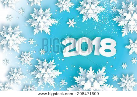 2018 Happy New Year Background. Blue Greetings Card for Christmas invitations. Paper cut snow flake. Paper cut Winter snowflakes. Space for Text. Vector illustration.