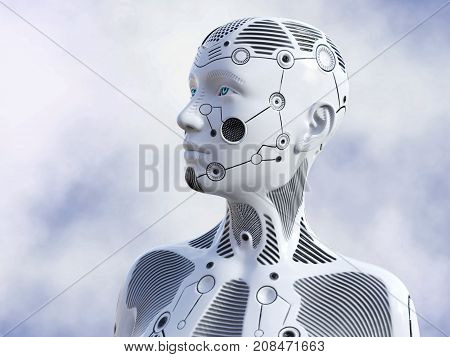 3D rendering of the head of a female robot. She is gazing in to the future.