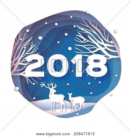 2018 Happy New Year Background. Deer couple in forest. Wild nature. Greetings Card for Christmas invitations. Paper cut snow flake. Circle frame. Text. Origami Mountains. Vector illustration.