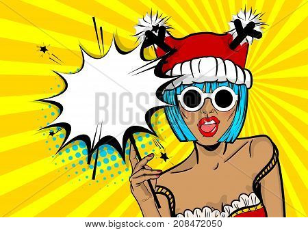 Marry Christmas young beautiful pop art woman pompom deer hat. Vector illustration popart wow face. Dare girl in red dress hold hand bengal fire sparkler empty comic text speech bubble balloon box.