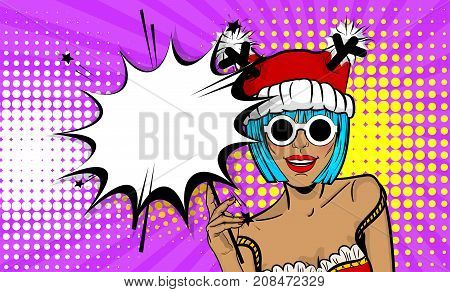 Dare girl in red dress hold hand bengal fire sparkler empty comic text speech bubble. Marry Christmas young beautiful smiling pop art woman pompom deer hat. Vector illustration popart wow face.