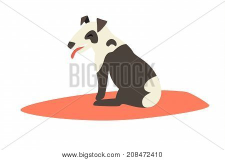 Dog surfers vector cartoon illustrations. Card with funny bull terrier dog. Bull terrier on red surfboard. Isolated on white