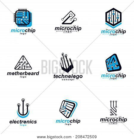 Technology communication cybernetic elements collection. Vector abstract circuit board. Set of electronic microprocessor logo.