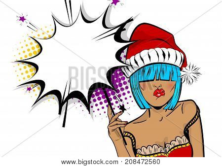 Empty comic text speech bubble. Marry Christmas young beautiful pop art woman pompom hat. Vector illustration isolated halftone popart wow face. Dare girl in red dress hold hand bengal fire sparkler .