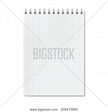 Vertical vector realistic graph ruled notebook. Copybook with blank quad paper on metallic ring spiral binder organizer mock-up or template for your text