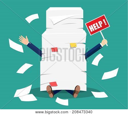 Stressed businessman under pile of office papers and documents with help sign. Stress at work. Overworked. File folders. Carton boxes. Bureaucracy, paperwork. Vector illustration in flat style