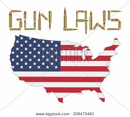 bullet gun control laws with america flag