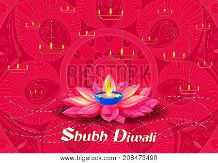 Decorated Diya on Happy Diwali night celebrating holiday of India. Vector illustration
