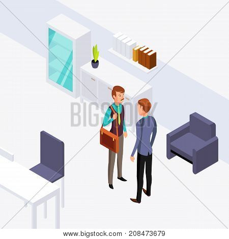 Two businessman office conversation illustration. Vector isometric flat concept. Business communication and talk