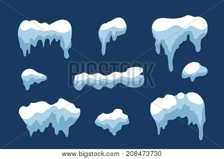 Snow ice icicle set Winter design. White blue snow template. Snowy frame decoration isolated on blue background. Cartoon style. Christmas New Year frozen ice texture Vector illustration