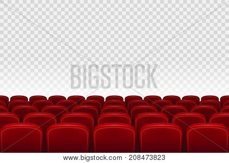 Empty movie theater auditorium with red seats. Rows of red cinema movie theater seats on transparent background, vector illustration EPS 10