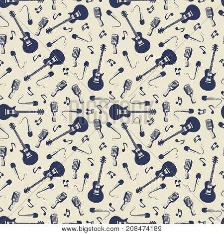 Vintage musical seamless pattern with guitars, microphones and music notes. Vector illustration
