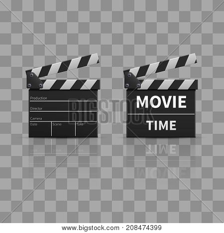 Movie clapperboard or film clapper isolated on transparent background. Vector illustration