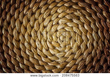 Pattern Nature For Background Of Handicraft Weave Texture Wicker Surface. Closeup View. Darker From