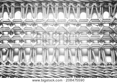 Pattern Nature For Background Of Handicraft Weave White Texture Wicker Surface. Darker From The Cent