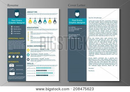 Resume and Cover letter collection. Modern CV set with Infographics elements. Awesome for job applications. Vector illustration.
