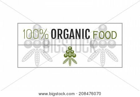 Organic food. Badge, label for healthy eating, berry icon. Vector illustration