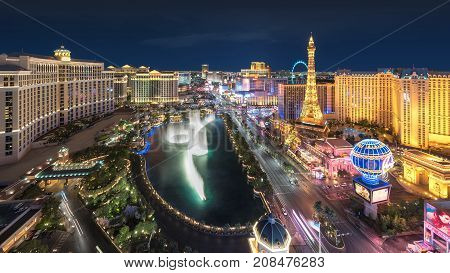 Las Vegas Strip skyline at night on July 25, 2017 in Las Vegas, Nevada. Caesars Palace, the Flamingo and Paris Hotel and casino are in the background.