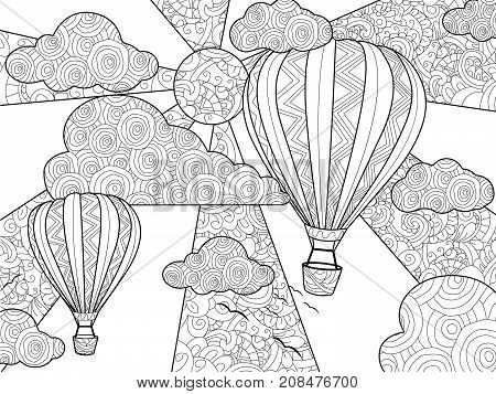 Aeronautic balloon coloring book for adults raster illustration. Anti-stress coloring for adult. Zentangle style. Black and white lines. Lace pattern