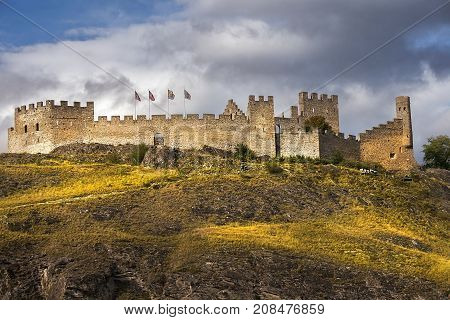 landscape with stone walls of Castle Tourbillon, Sion, Switzerland