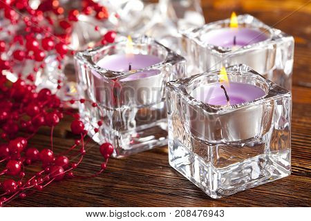 Candles And Christmas Decorations