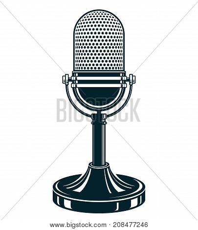 Retro studio microphone vector illustration. Stand up live show concept public relations.