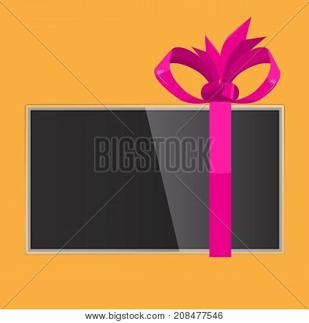 TV gift with pink ribbon wrapped for holidays. Illustrated vector.