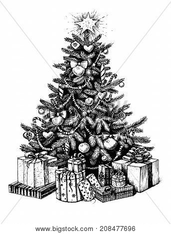 Hand drawn Christmas tree and presents. Vector illustration sketch line art.