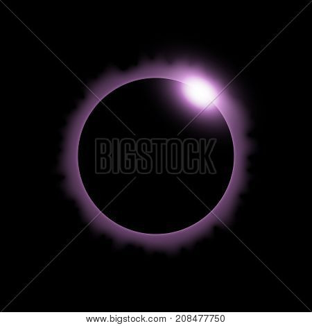 Total eclipse of the sun solar eclipse on black background light effect purple color
