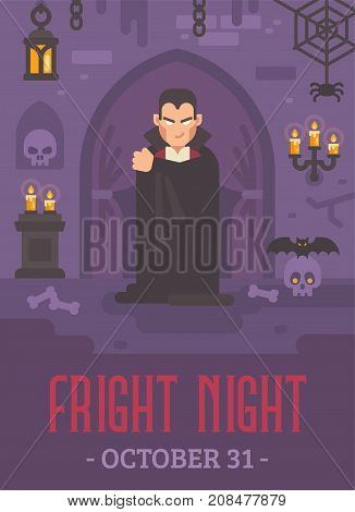 Halloween Poster With A Vampire In A Dark Crypt With Skulls And Bats. Trick Or Treat. Halloween Frig